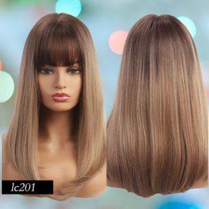 👉BOGO Ombre Brown Synthetic Wig Bob Bangs
